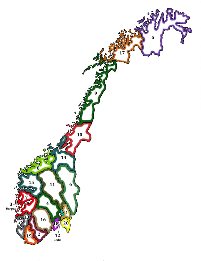 Fylke map of Norway